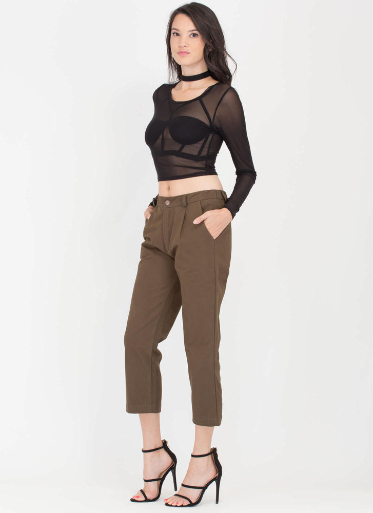 Lucky Day Wide Cropped Chino Pants OLIVE (Final Sale)