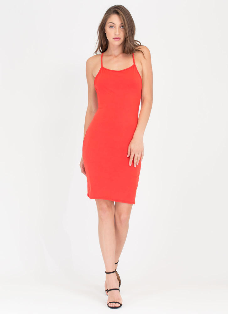 U Gotta Have It Open Back Midi Dress ORANGE