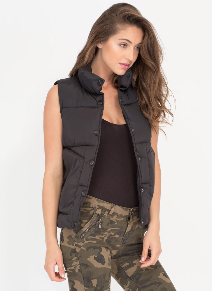 Padding Your Stats Buttoned Puffy Vest BLACK