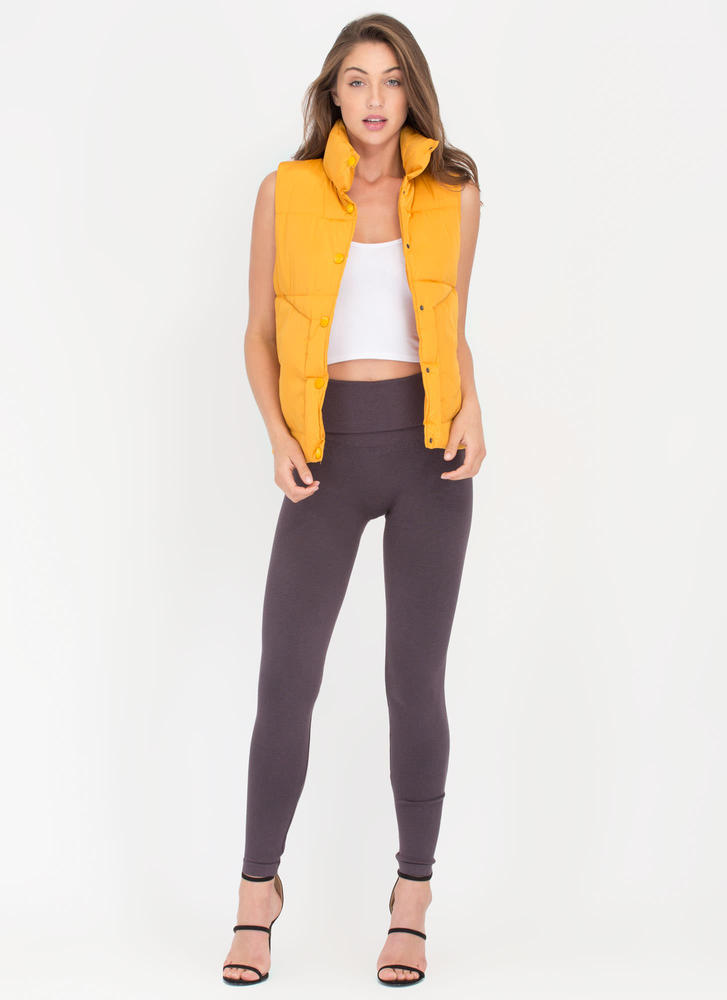 Padding Your Stats Buttoned Puffy Vest MUSTARD (Final Sale)