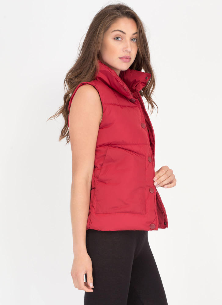 Padding Your Stats Buttoned Puffy Vest RED (Final Sale)