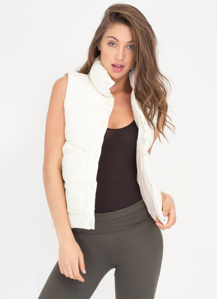 Padding Your Stats Buttoned Puffy Vest WHITE
