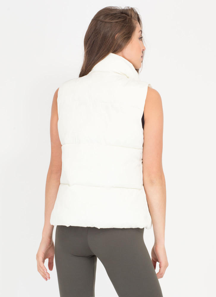 Padding Your Stats Buttoned Puffy Vest WHITE (Final Sale)