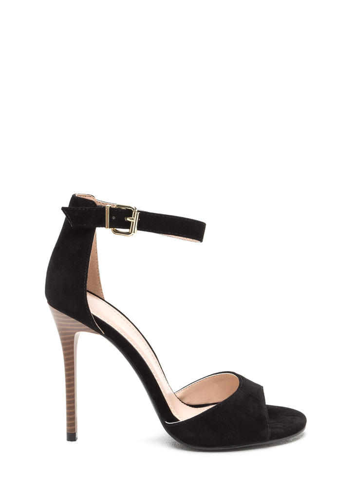 Radiant Diva Strappy Faux Suede Heels BLACK