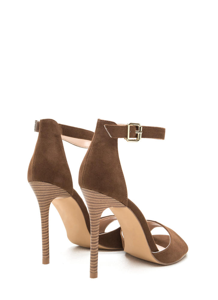 Radiant Diva Strappy Faux Suede Heels BROWN
