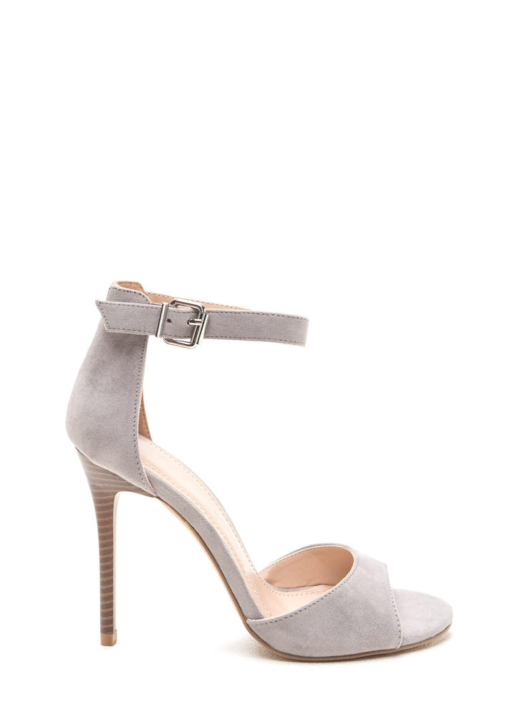 Radiant Diva Strappy Faux Suede Heels GREY