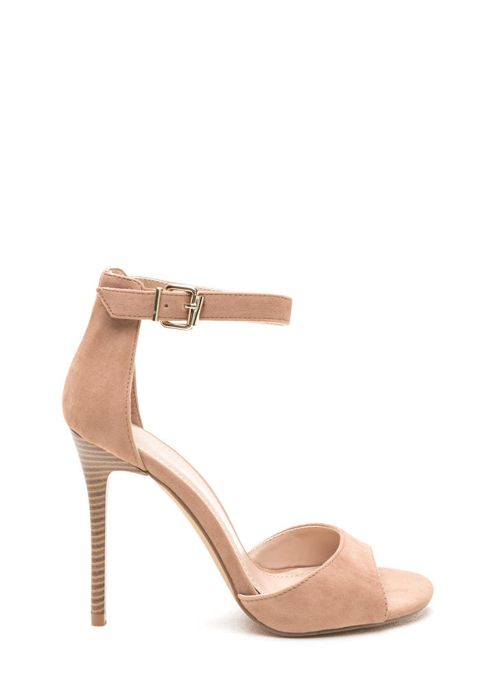 Radiant Diva Strappy Faux Suede Heels TAUPE