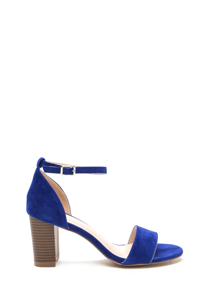Short 'N Sweet Faux Suede Block Heels BLUE BLACK GREY - GoJane.com