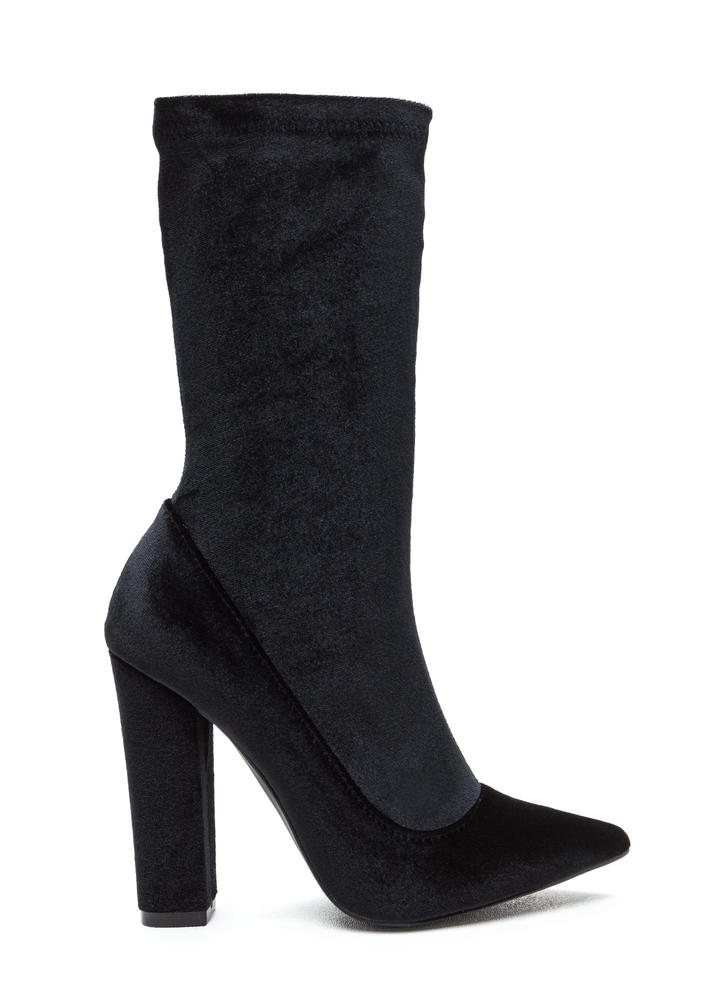 Spell On U Pointy Velvet Chunky Booties
