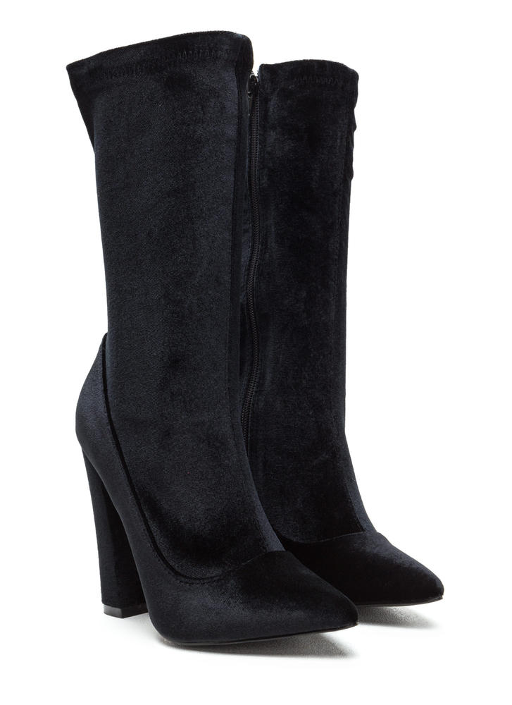 Spell On U Pointy Velvet Chunky Booties BLACK