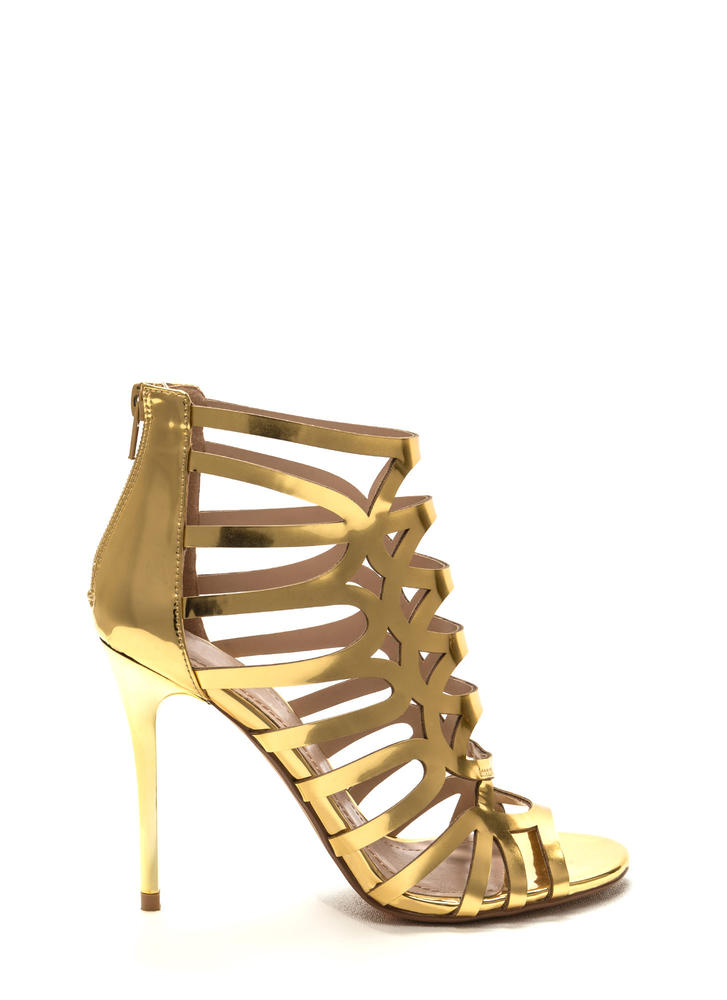 Throw A Curve Caged Metallic Heels GOLD