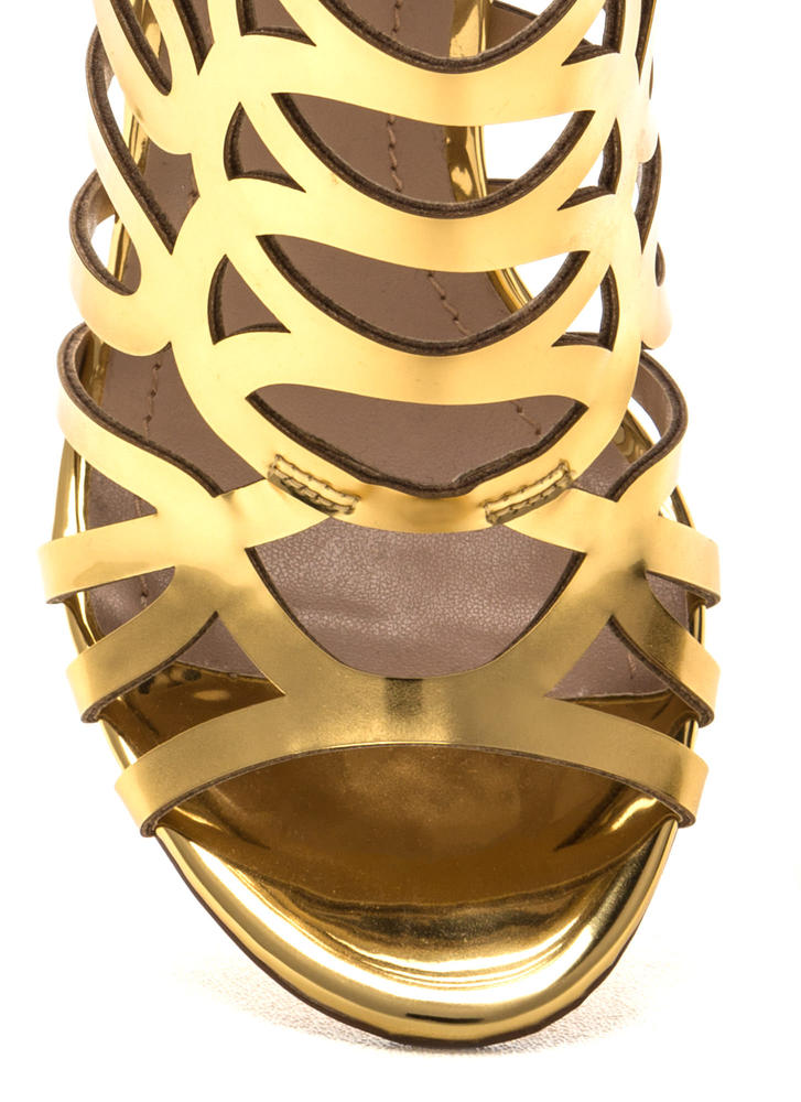 Throw A Curve Caged Metallic Heels GOLD (Final Sale)