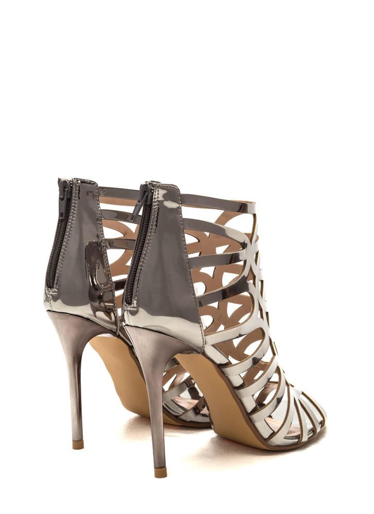 Throw A Curve Caged Metallic Heels PEWTER