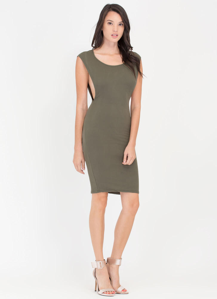 Sides You Up Muscle Tee Midi Dress OLIVE