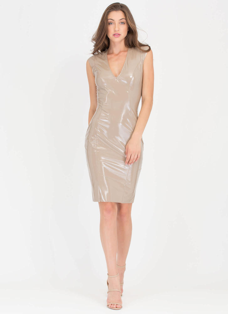 Patent Not Pending Coated Midi Dress NUDE
