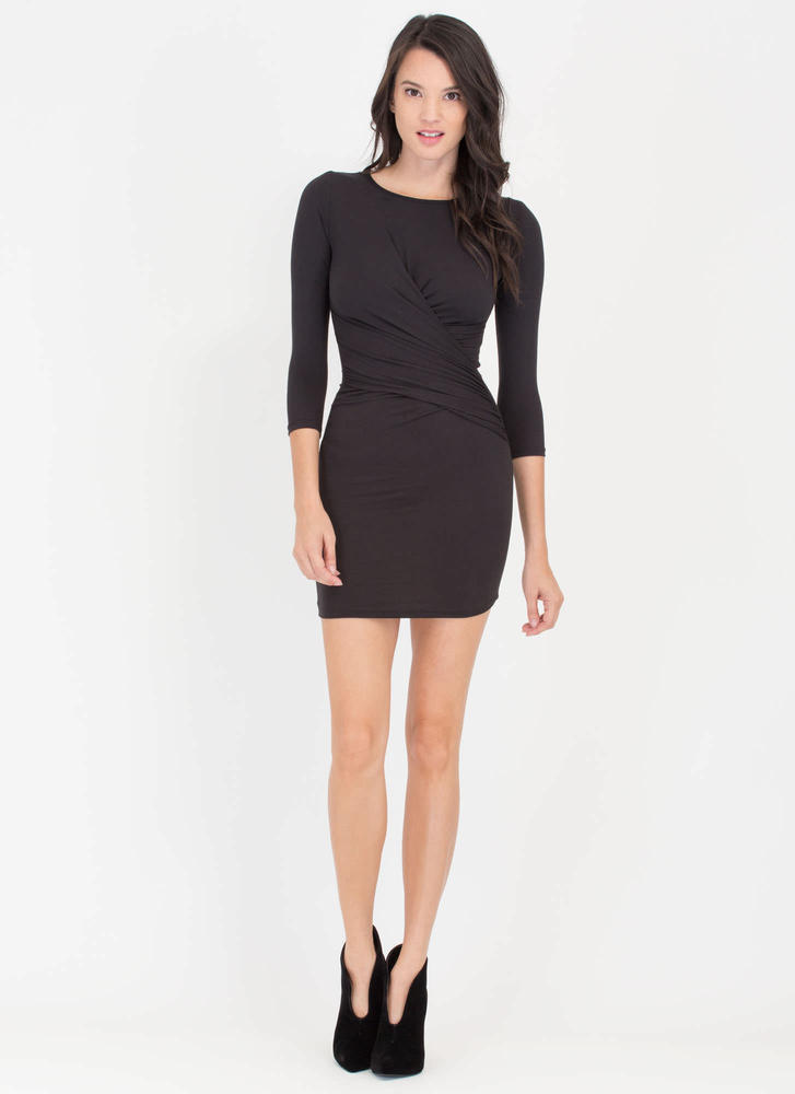 Wrap Genius Drape Front Minidress BLACK
