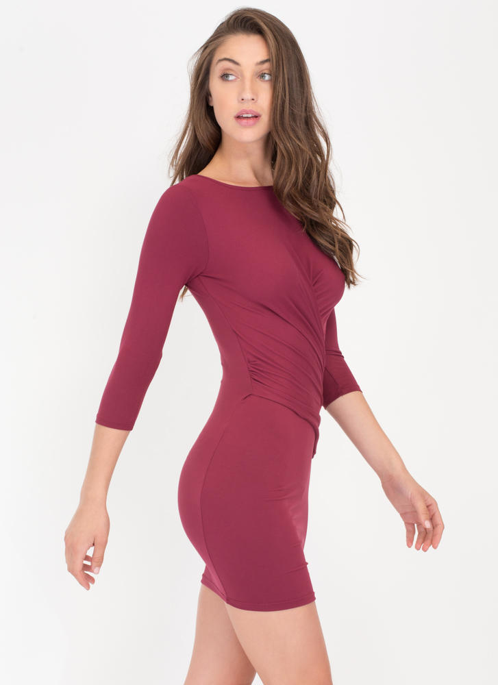 Wrap Genius Drape Front Minidress BURGUNDY