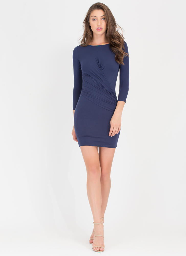 Wrap Genius Drape Front Minidress NAVY