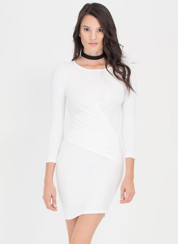 Wrap Genius Drape Front Minidress WHITE