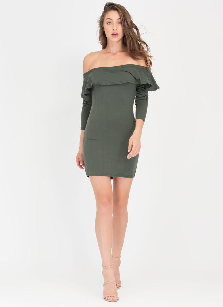 Ruffle Rider Off-The-Shoulder Dress  OLIVE