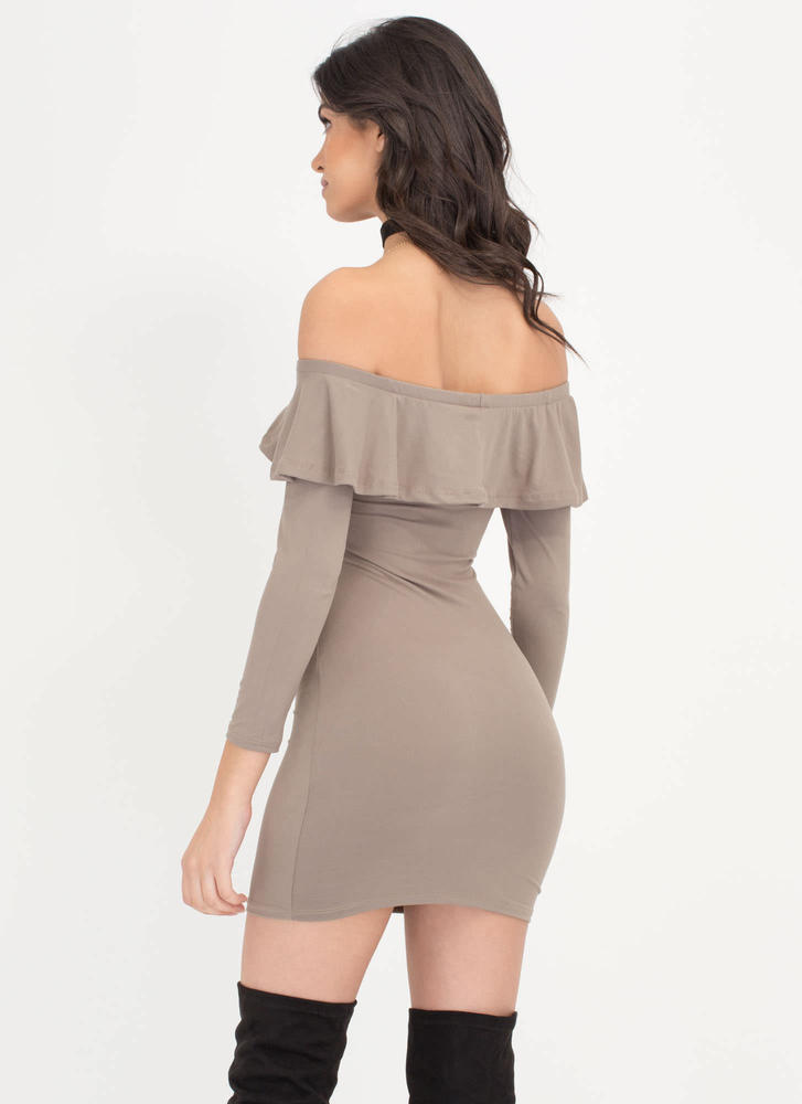 Ruffle Rider Off-The-Shoulder Dress  TAUPE