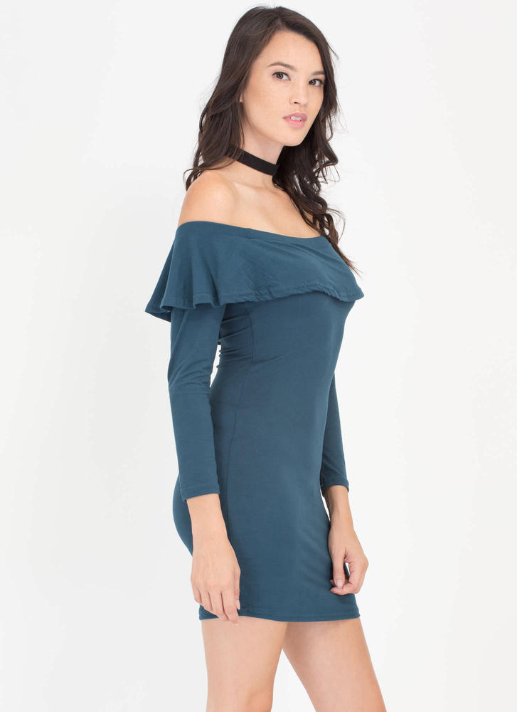 Ruffle Rider Off-The-Shoulder Dress  TEAL