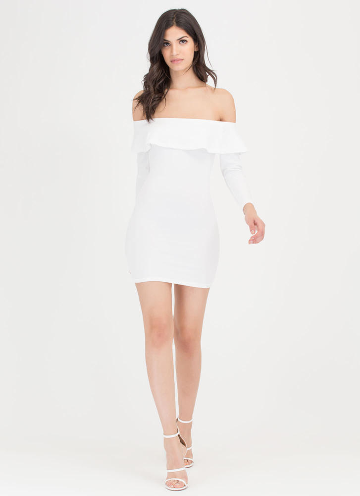 Ruffle Rider Off-The-Shoulder Dress  WHITE