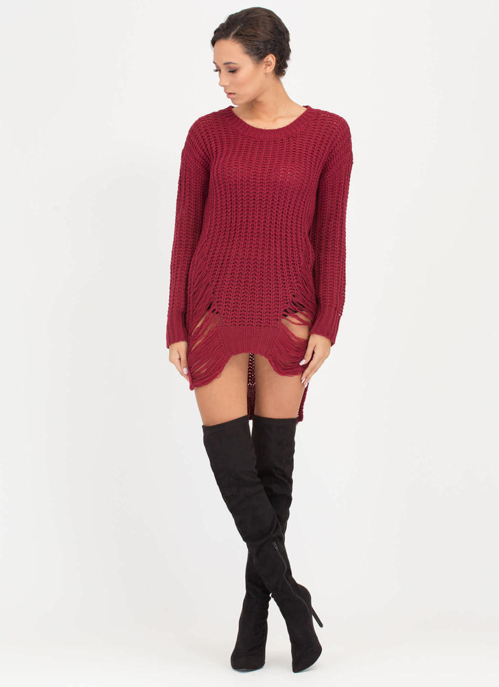 Pulling Strings Distressed Knit Sweater BURGUNDY