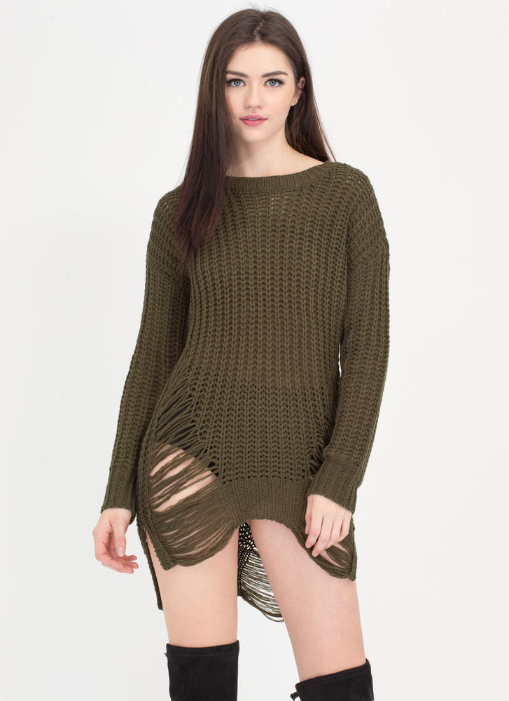 Pulling Strings Distressed Knit Sweater