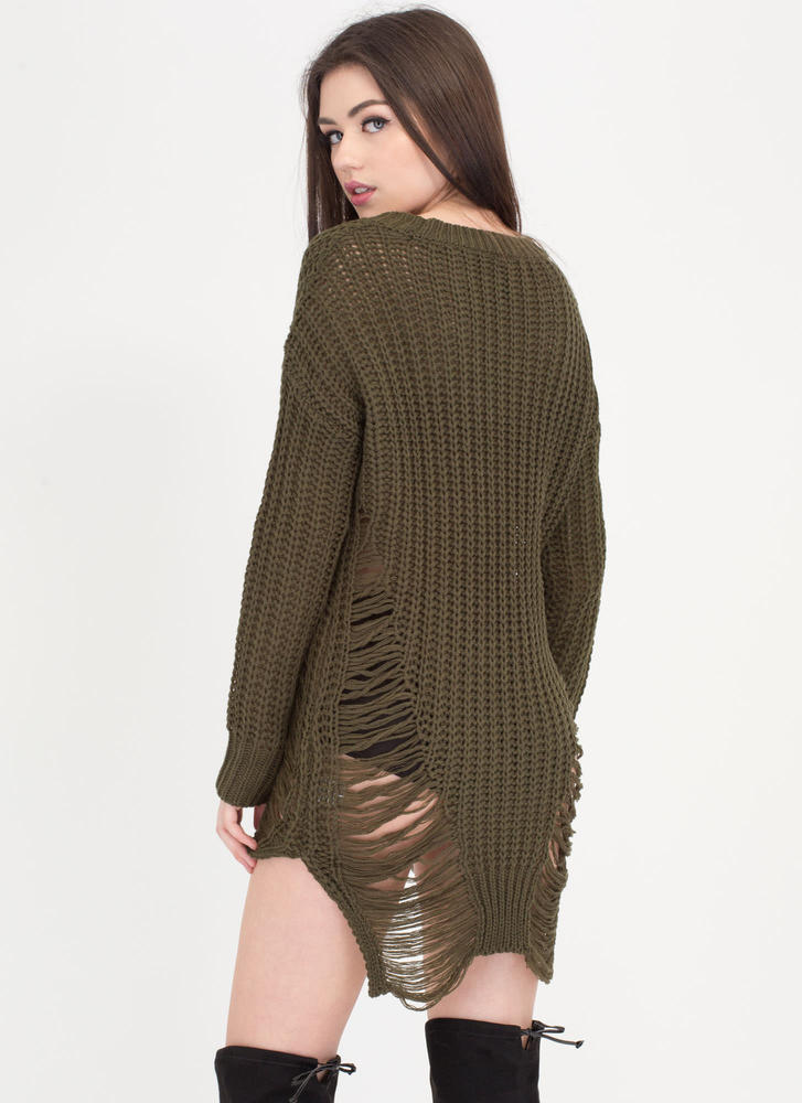 Pulling Strings Distressed Knit Sweater GREEN