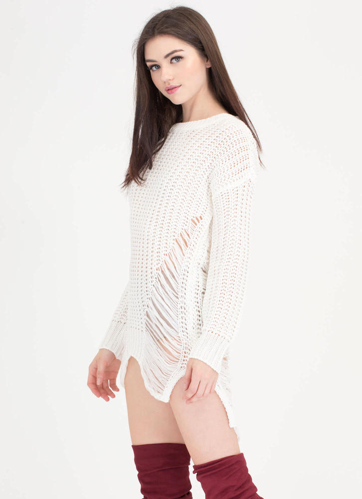 Pulling Strings Distressed Knit Sweater IVORY