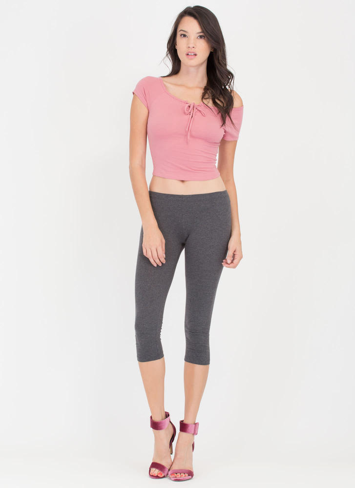 Basic Instinct Capri Leggings CHARCOAL