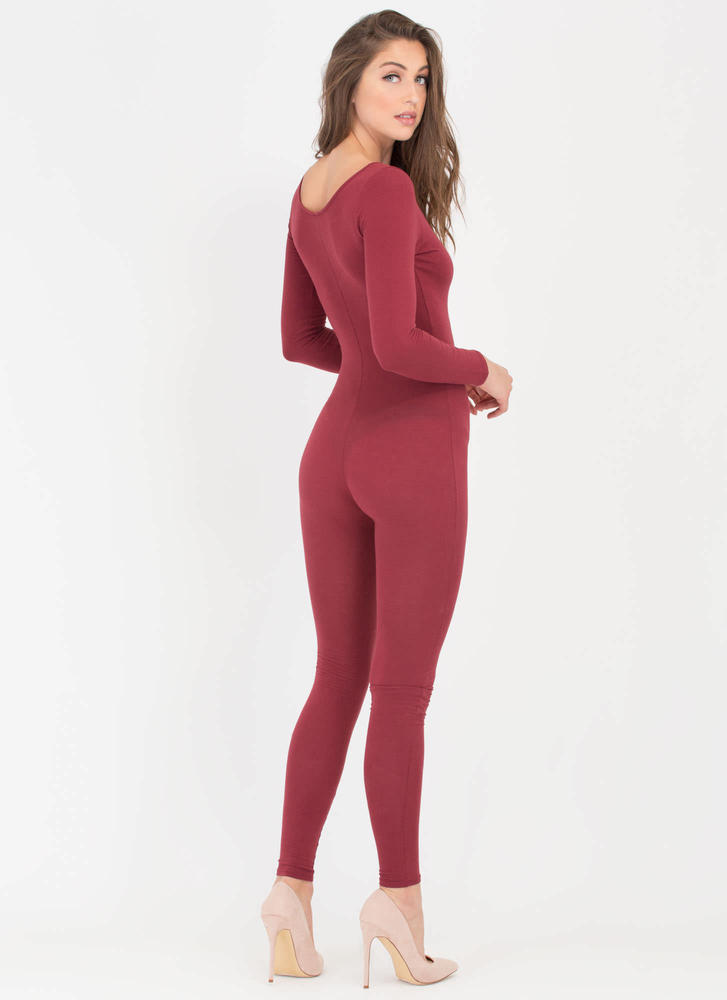 Single Scoop Long Sleeve Full Bodysuit BURGUNDY