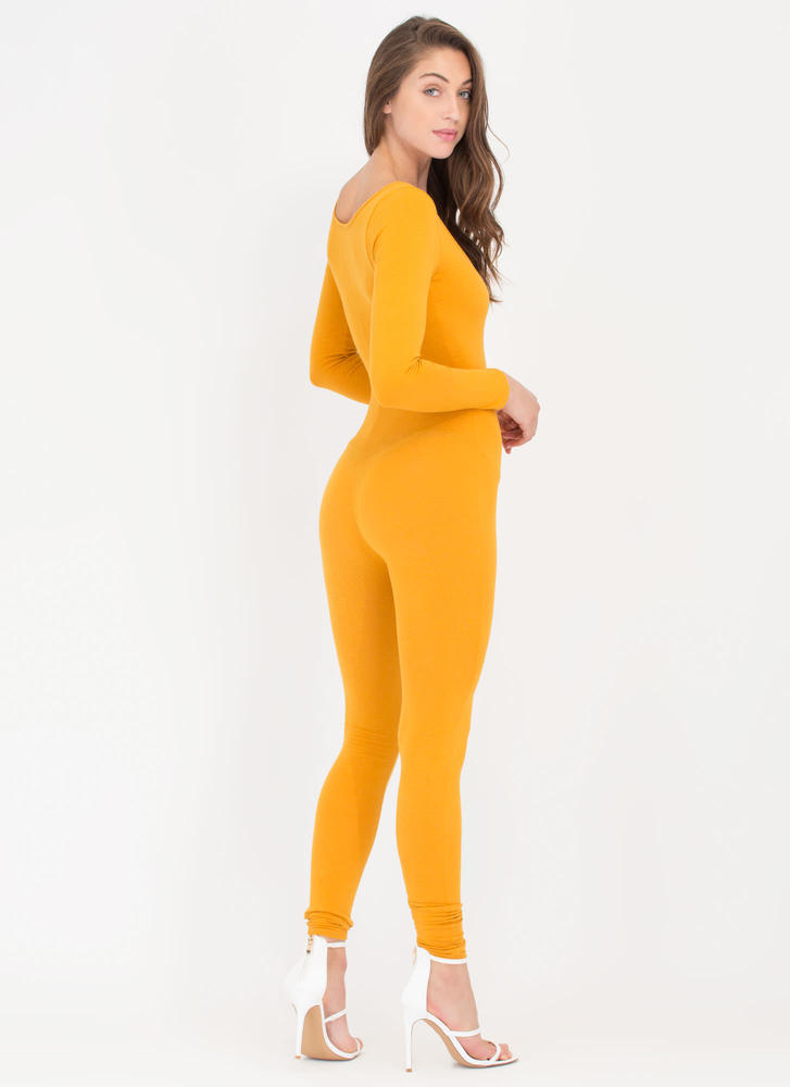 Single Scoop Long Sleeve Full Bodysuit MUSTARD