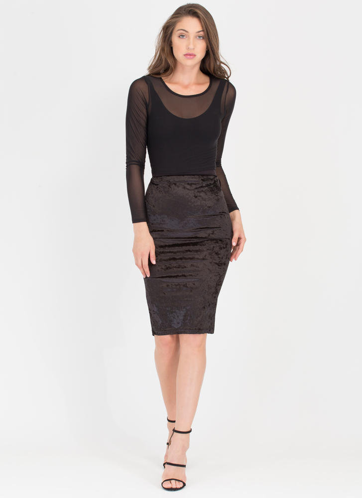 Crushing It Velvet Midi Pencil Skirt