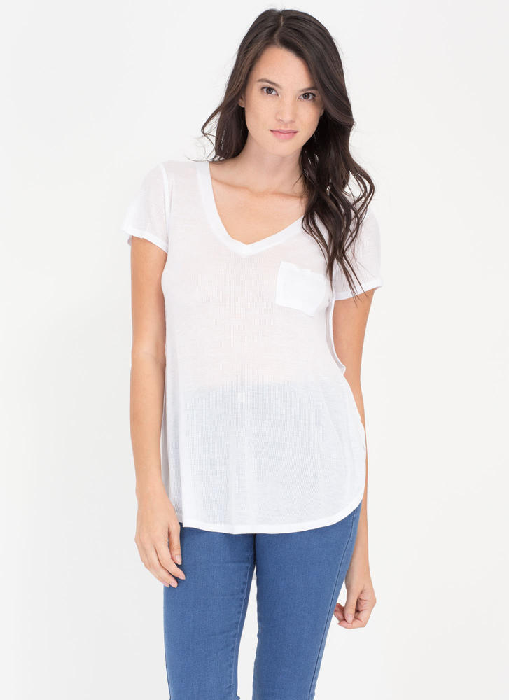 Slit Personality Ribbed Pocket Tee