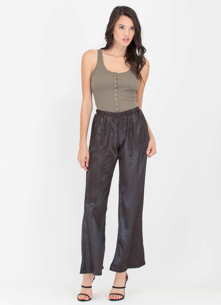 Oh Snap Buttons Rib Knit Bodysuit OLIVE