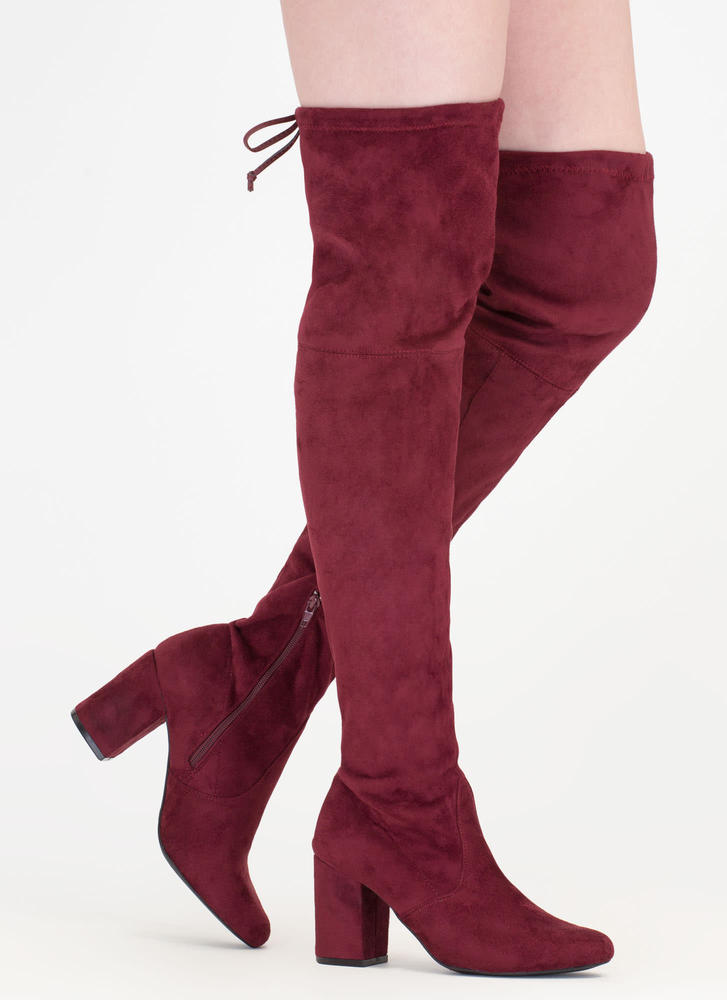 Tie Me Up Chunky Over-The-Knee Boots BURGUNDY