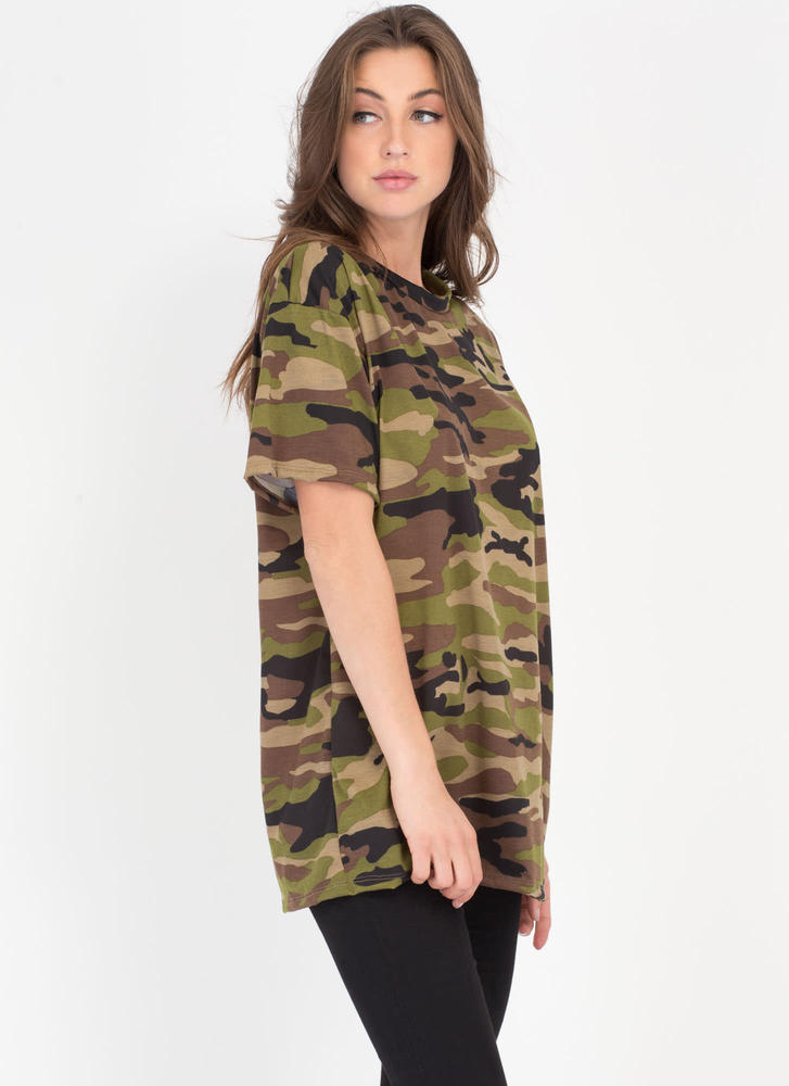 Boot Camp Camo Print Oversized Tee CAMOUFLAGE