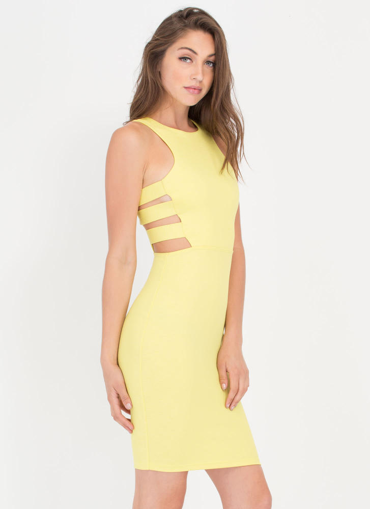 Climb The Ladder Side Cut-Out Dress YELLOW