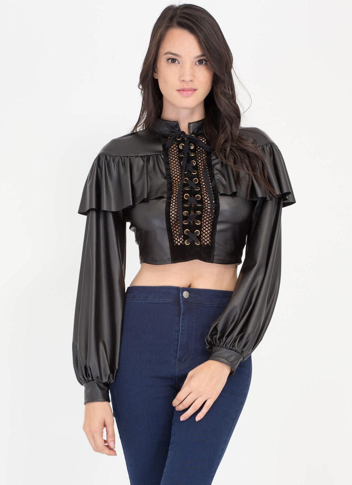 Showdown Coated Ruffled Lace-Up Crop Top BLACK
