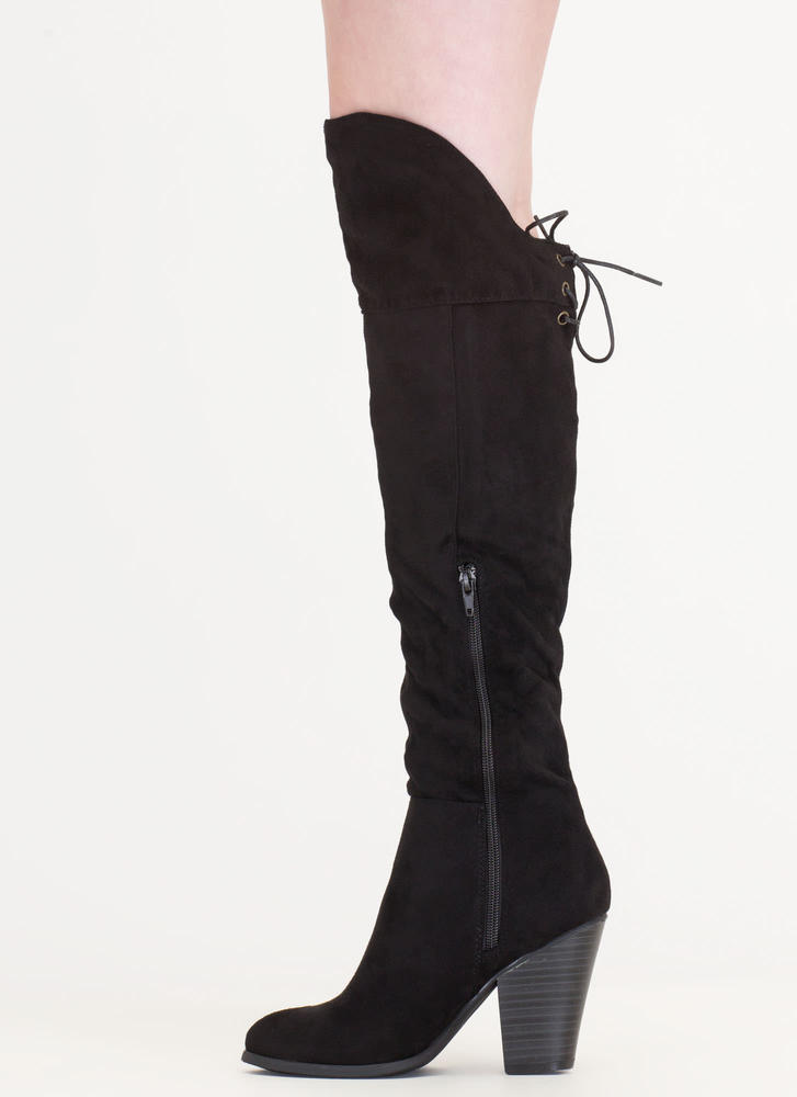 X Marks The Side Chunky Thigh-High Boots BLACK (Final Sale)