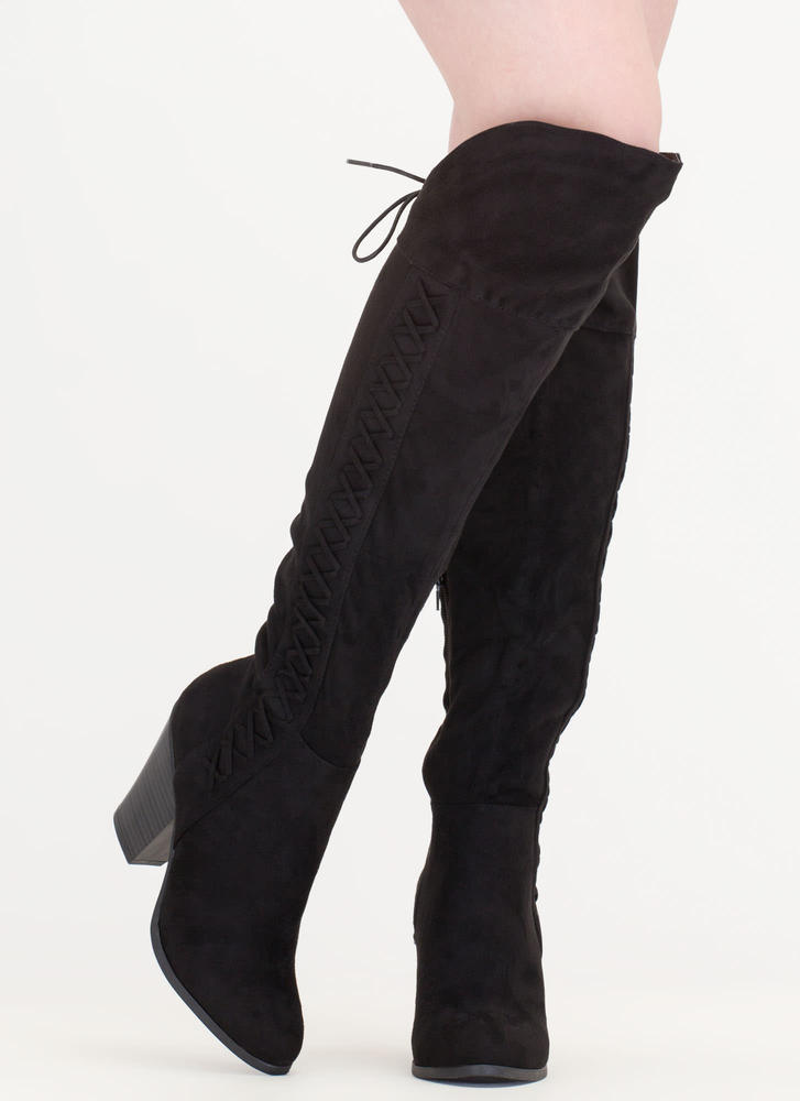 X Marks The Side Chunky Thigh-High Boots TAUPE BLACK - GoJane.com