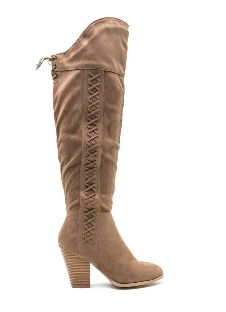 X Marks The Side Chunky Thigh-High Boots TAUPE