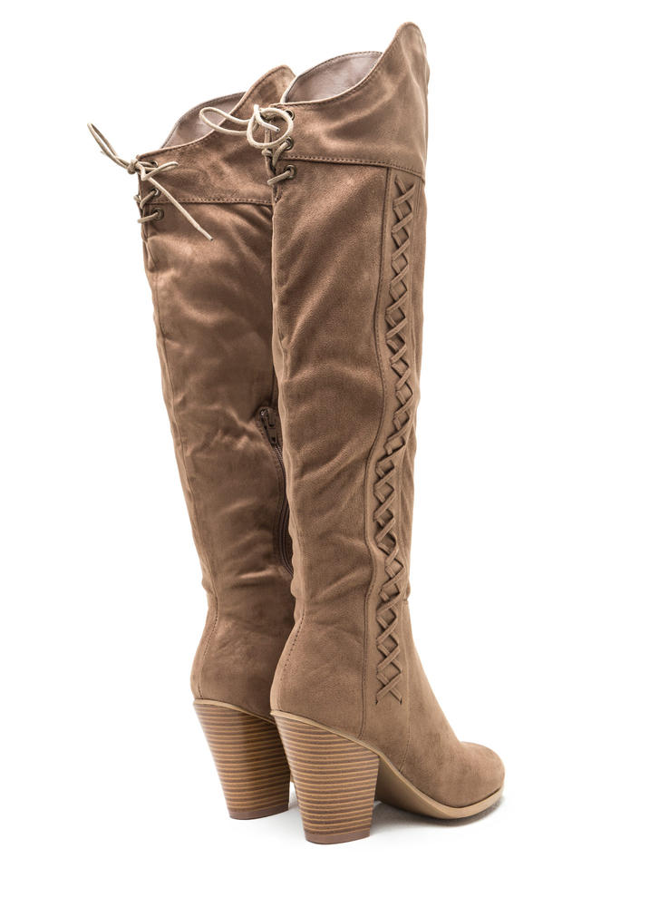 X Marks The Side Chunky Thigh-High Boots TAUPE (Final Sale)
