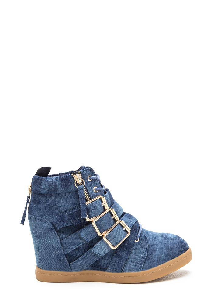 Bold 'N Buckled Denim Sneaker Wedges