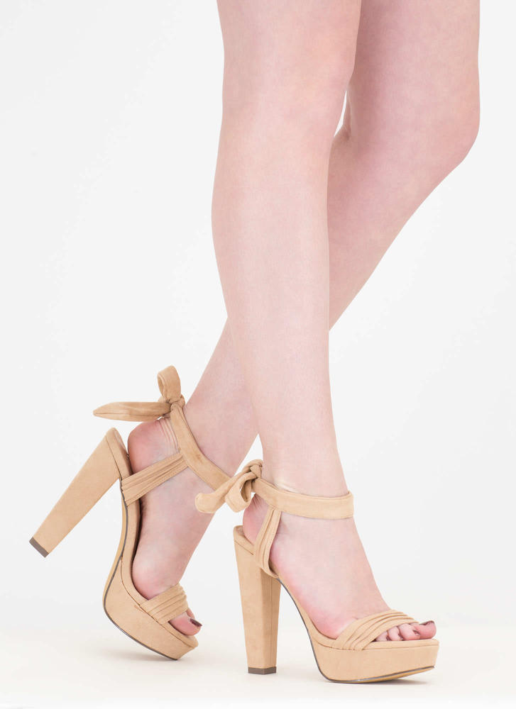 Pleats 'N Thank You Chunky Strappy Heels