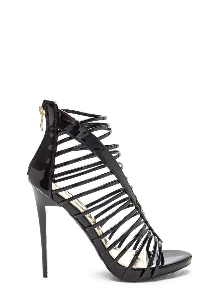 Line 'Em Up Caged Faux Patent Heels