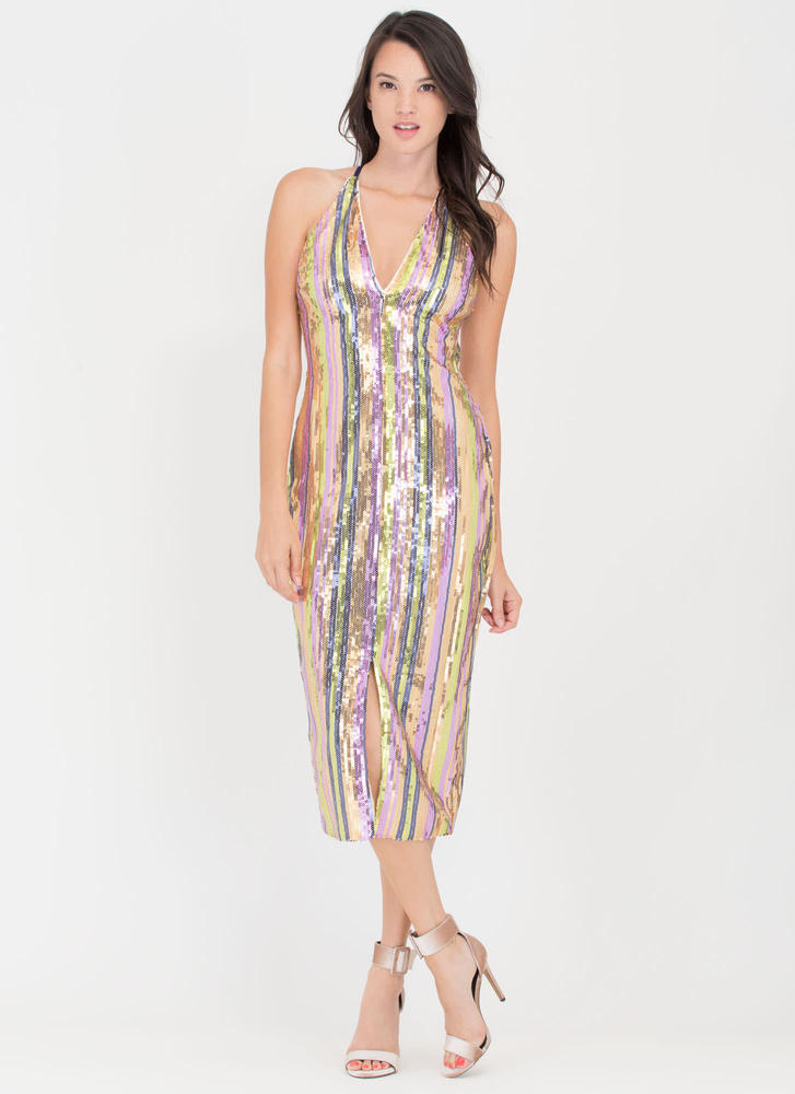 Rise And Shine Sequined Open Back Dress MULTI