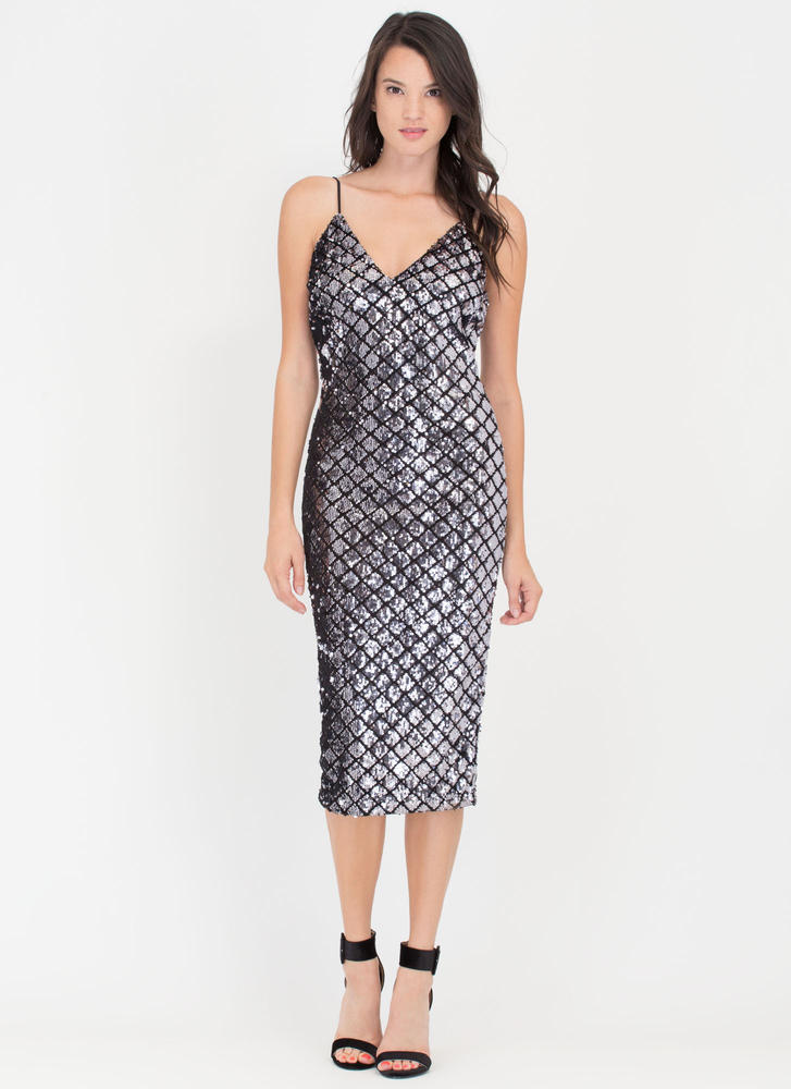 Luxe Life Latticed Sequined Midi Dress SILVER